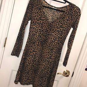 Leopard print fit and flare v neck dress